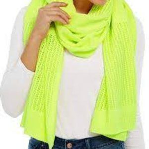DKNY Open-Knit Blocked Scarf, One Size Neon Yellow